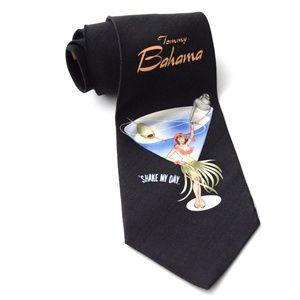 "TOMMY BAHAMA Black Martini ""Shake My Day"" Neck Tie"